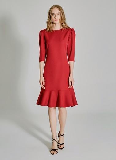 People By Fabrika Kol Detaylı Volanlı Elbise Bordo